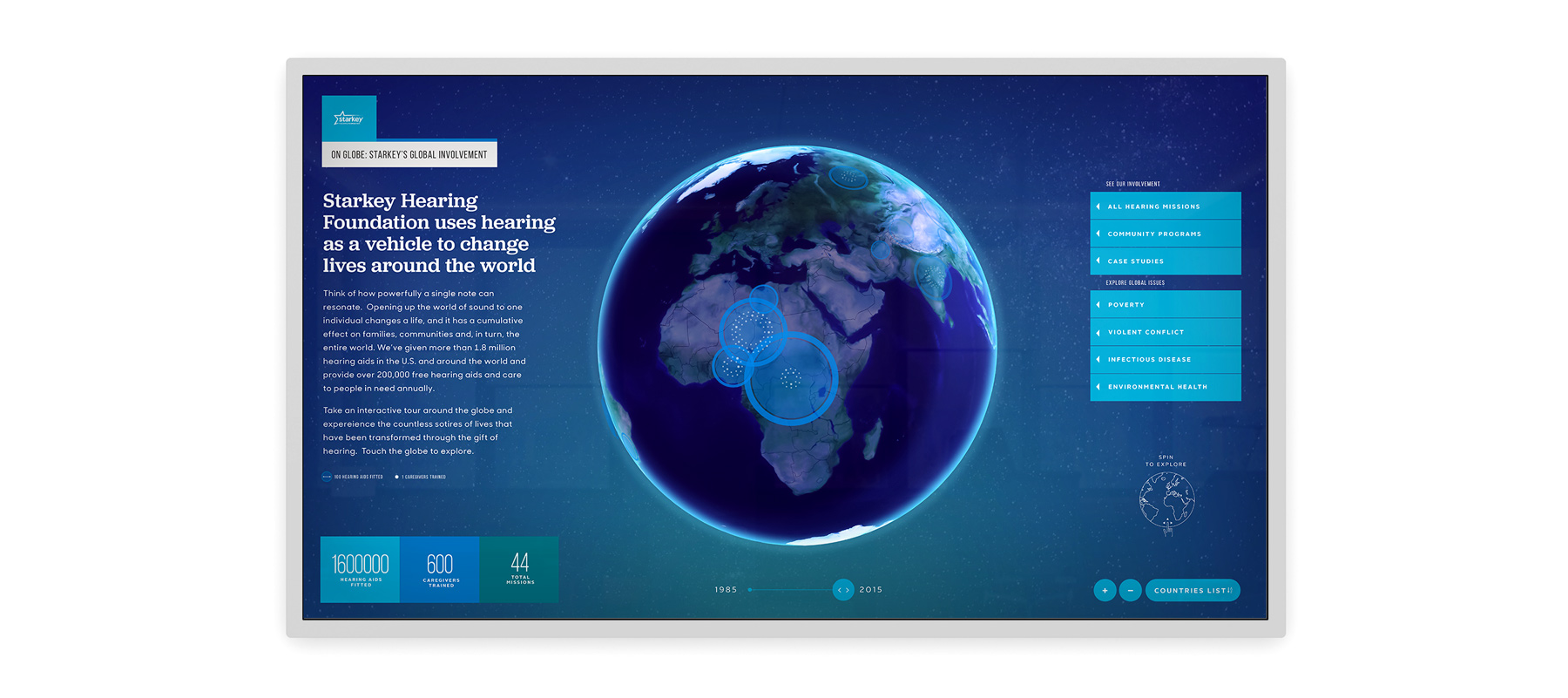 starkey hearing foundation interactive globe display data visualization
